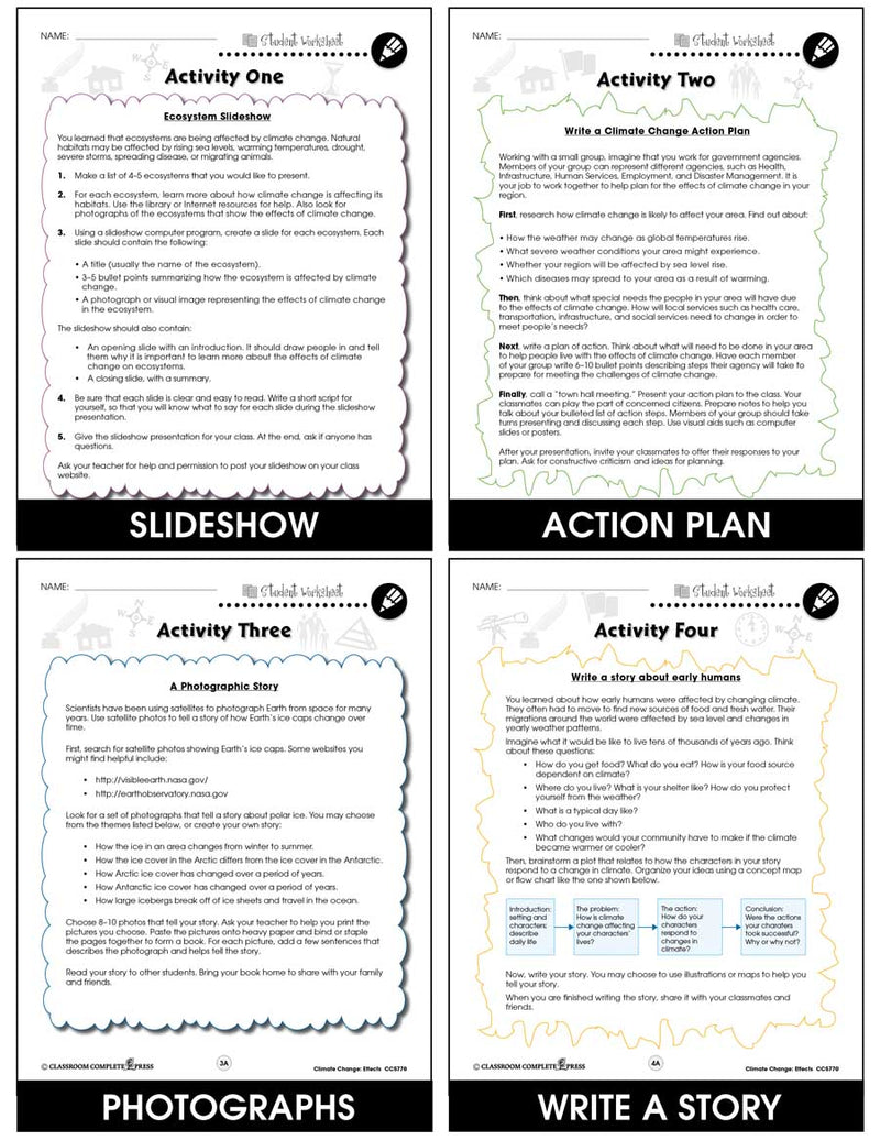 Global Warming: Effects - BONUS WORKSHEETS