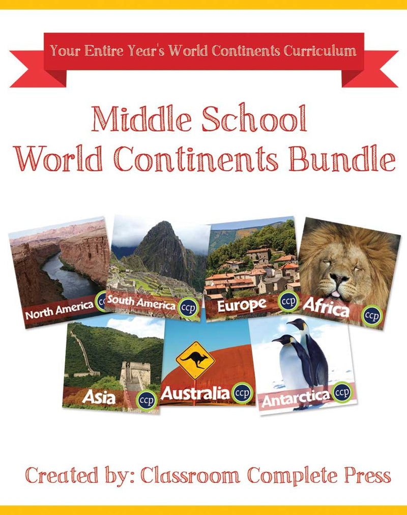 Middle School World Continents Bundle