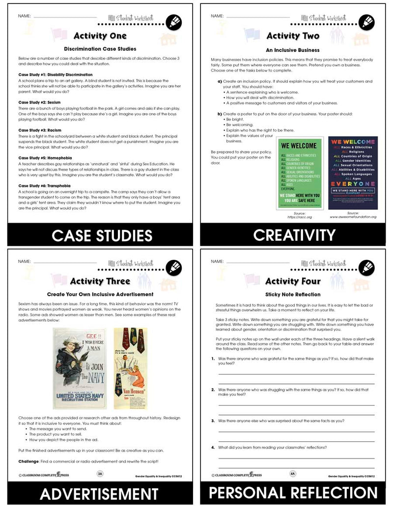 Gender Equality & Inequality - BONUS WORKSHEETS