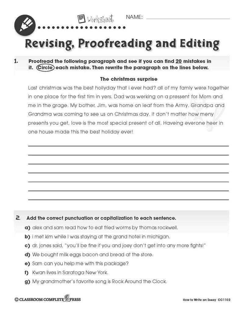 How to Write an Essay: Punctuation Proofreading - WORKSHEET