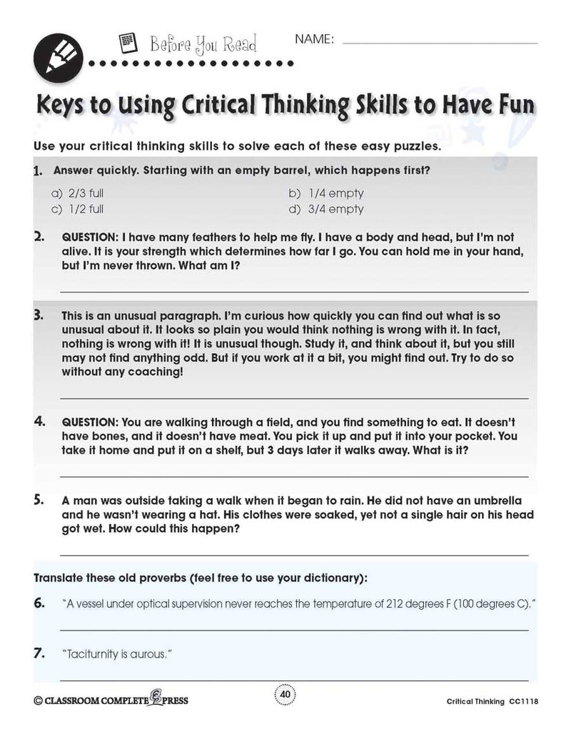 Critical Thinking: Word Puzzles - WORKSHEET