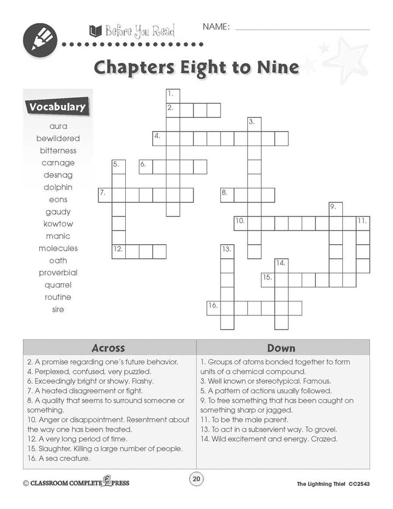 The Lightning Thief: Crossword & Word Search - WORKSHEET