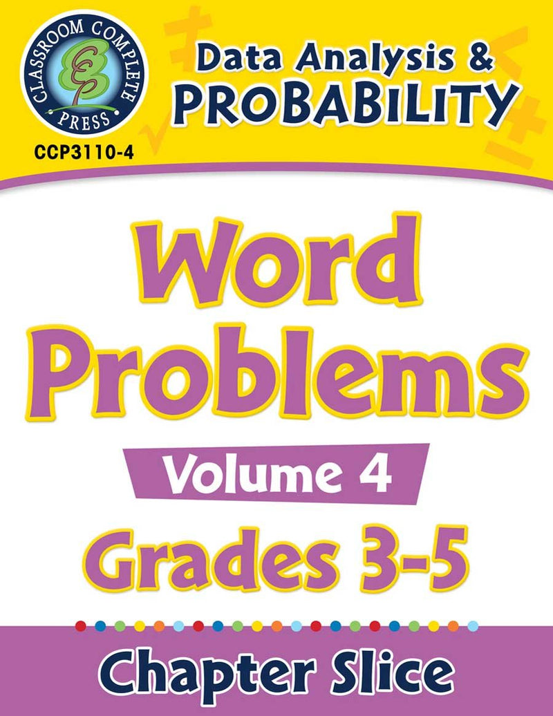 Data Analysis & Probability: Word Problems Vol. 4 Gr. 3-5