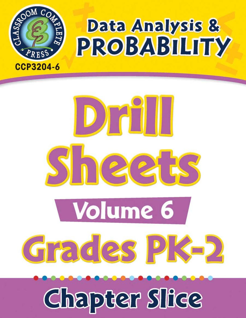 Data Analysis & Probability - Drill Sheets Vol. 6 Gr. PK-2