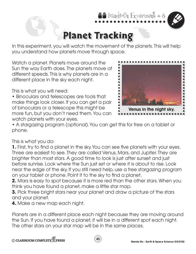 Earth & Space Science: Planet Tracking - WORKSHEET