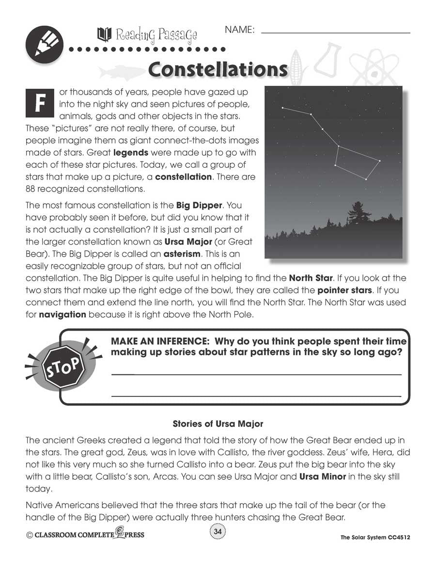 Solar System Constellations Map Worksheet Classroom Complete Press [ 1165 x 900 Pixel ]