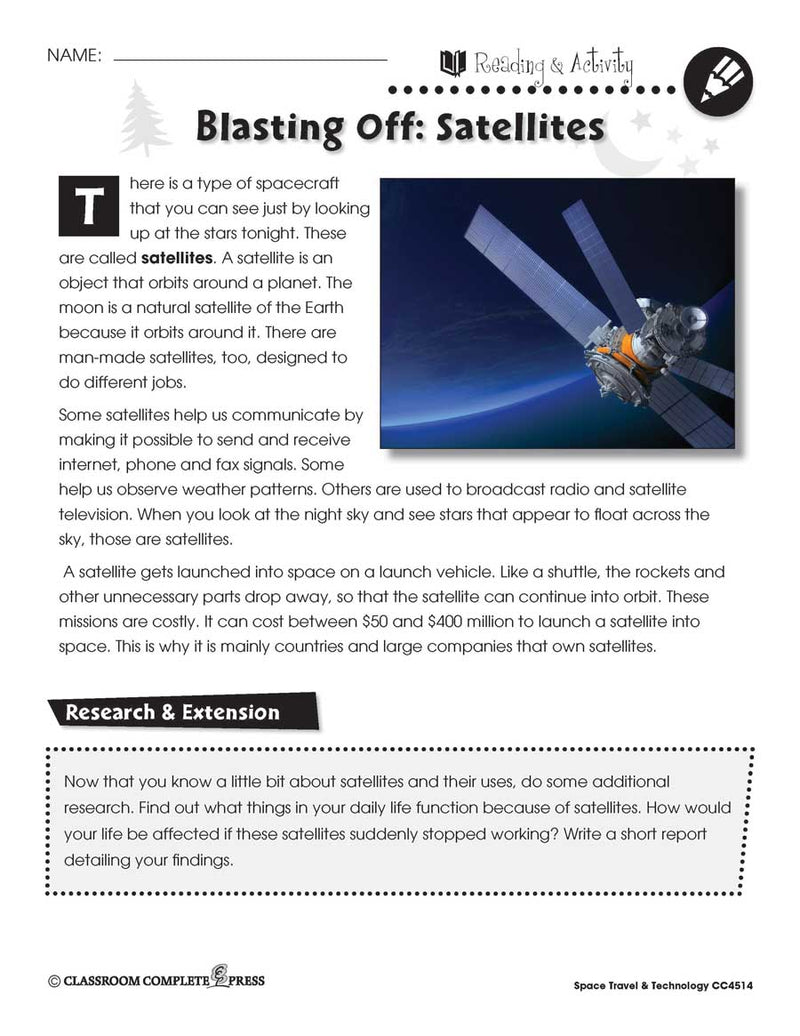 Blasting Off: Satellites - WORKSHEET