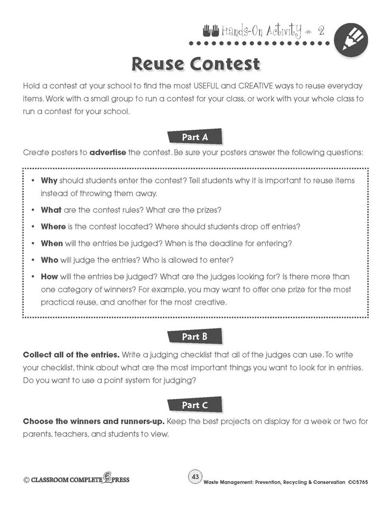 Prevention, Recycling & Conservation: Reuse Contest - WORKSHEET