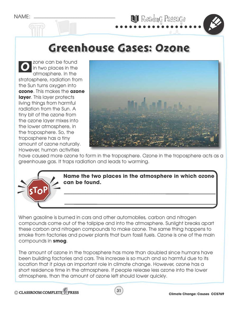 Climate Change: Causes: Greenhouse Gases - Ozone Reading Passage - WORKSHEET