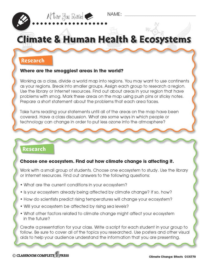 Climate Change: Effects: Climate, Human Health, Ecosystems Research - WORKSHEET