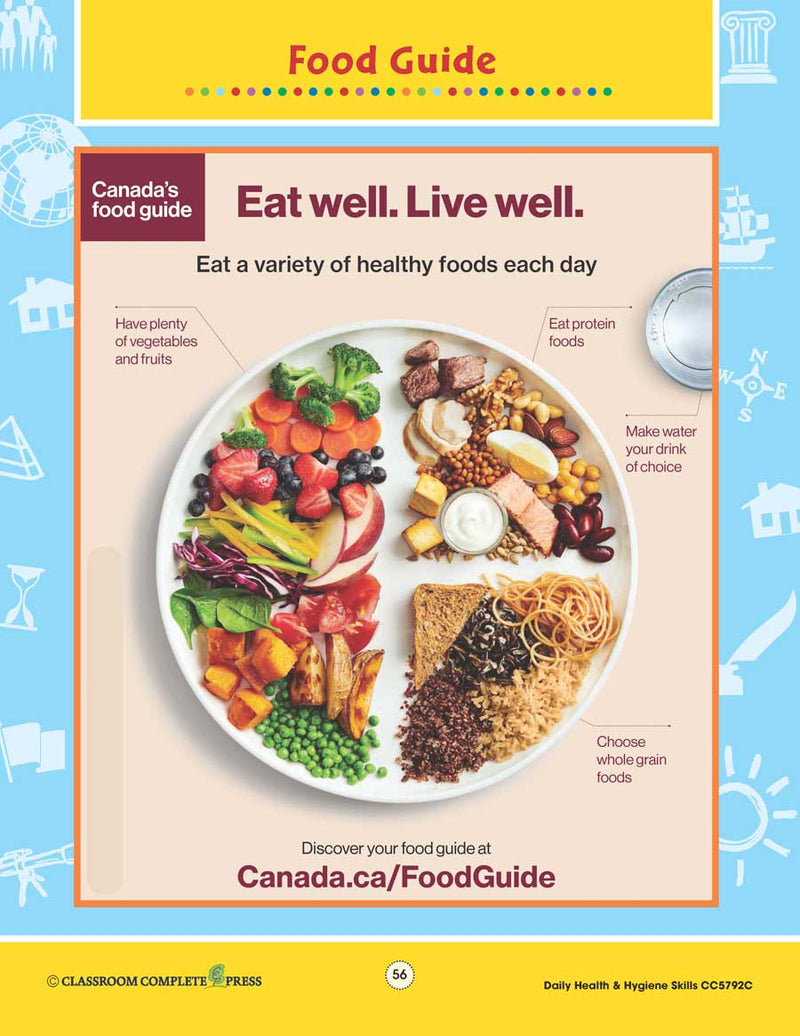 Daily Health & Hygiene Skills: Canada's Food Guide - WORKSHEET