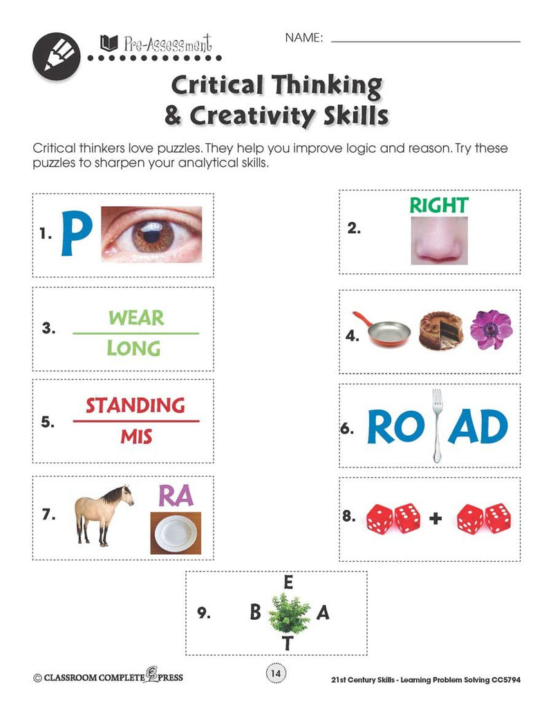 21st Century Skills - Learning Problem Solving: Critical Thinking Puzzles - WORKSHEET