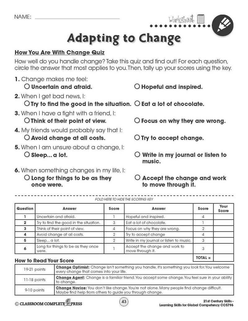 Learning Skills for Global Competency: How You Are With Change Quiz - WORKSHEETS