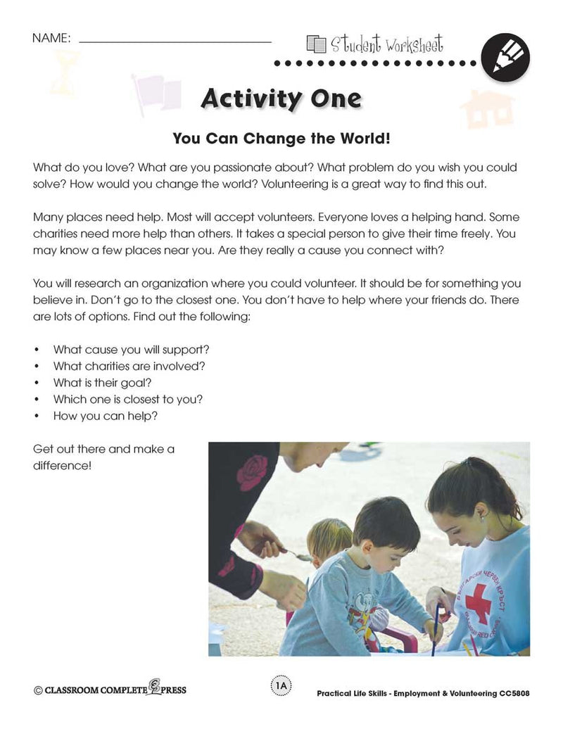 Employment & Volunteering: You Can Change the World Research Activity - WORKSHEET