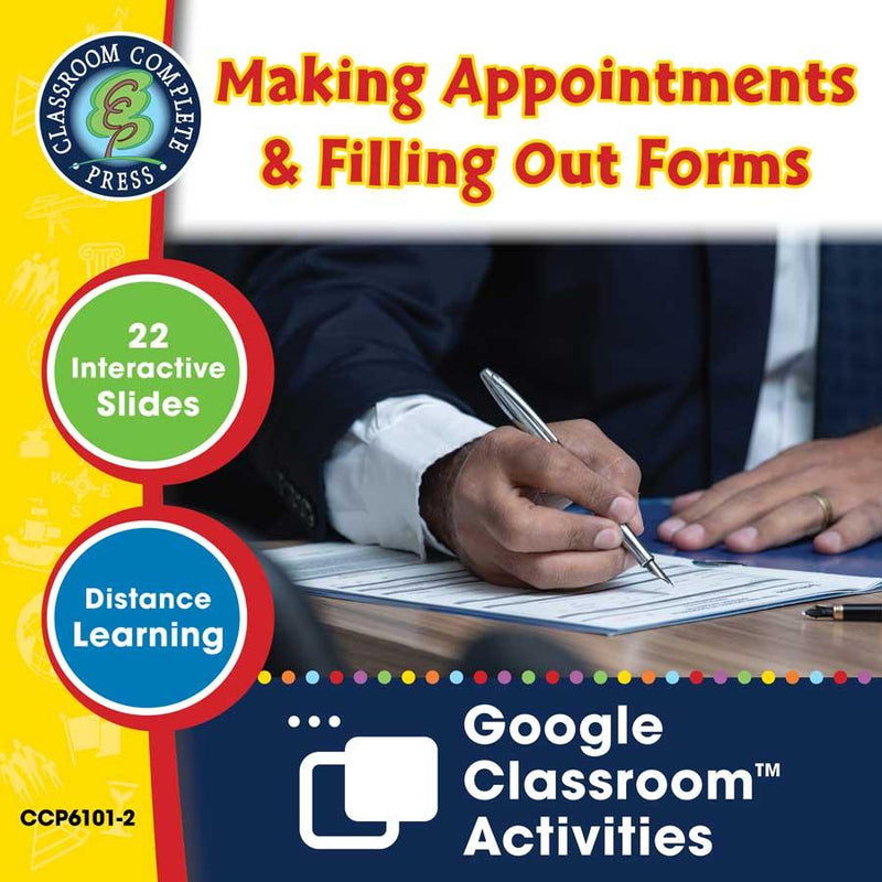 Daily Social & Workplace Skills: Making Appointments & Filling Out Forms - Google Slides (SPED)
