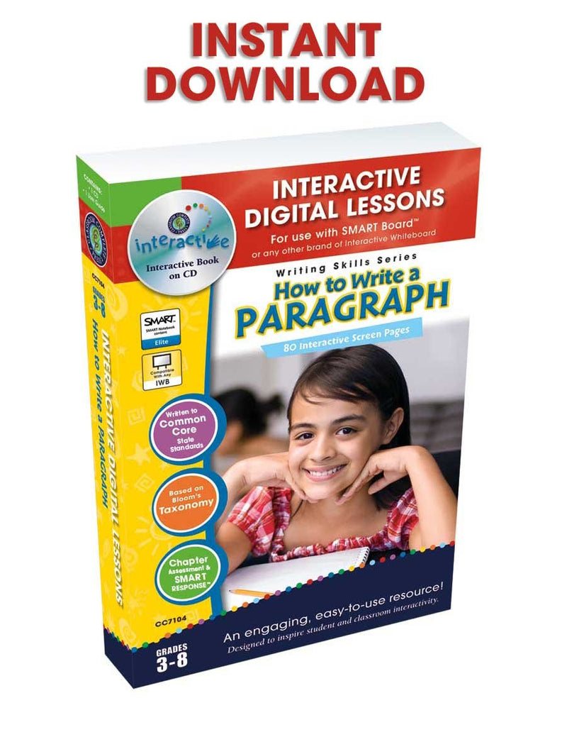 How to Write a Paragraph - DIGITAL LESSON PLAN
