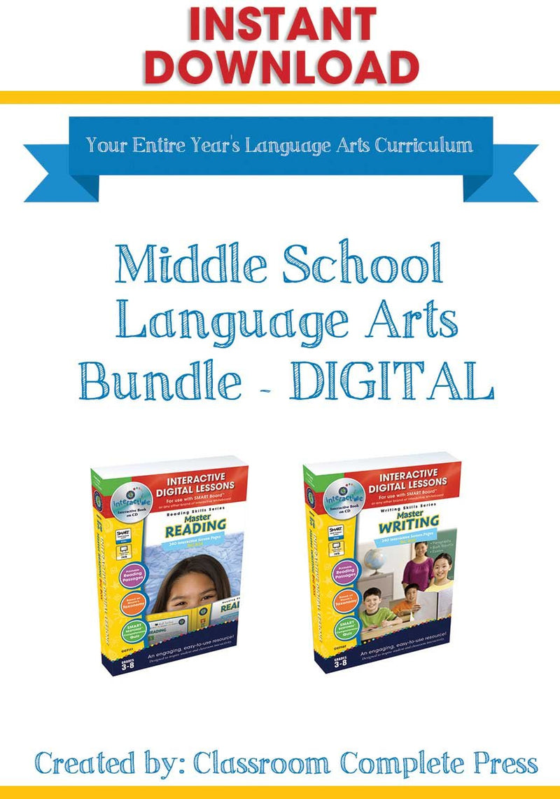 Middle School Language Arts Bundle - DIGITAL LESSONS