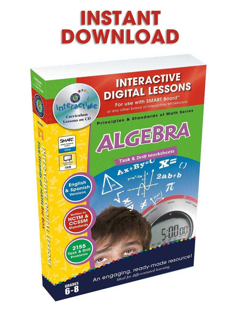 Algebra - Grades 6-8 - DIGITAL LESSON PLAN