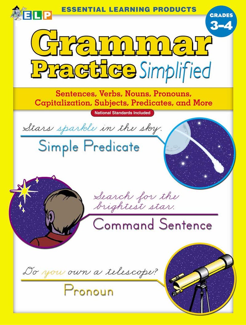 Grammar Practice Simplified: Guided Practice in Basic Skills (Book B, Grades 3-4)