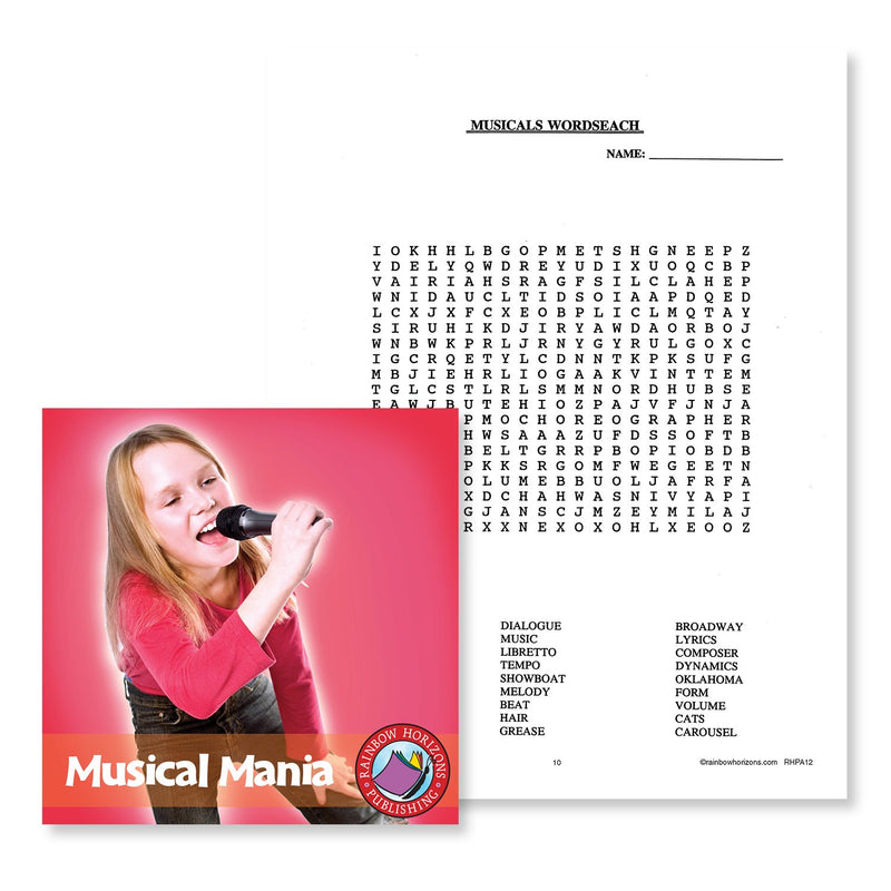 Musical Mania: Musicals Wordsearch - WORKSHEET