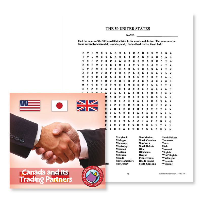 Canada And Its Trading Partners: The 50 United States Word Search - WORKSHEET
