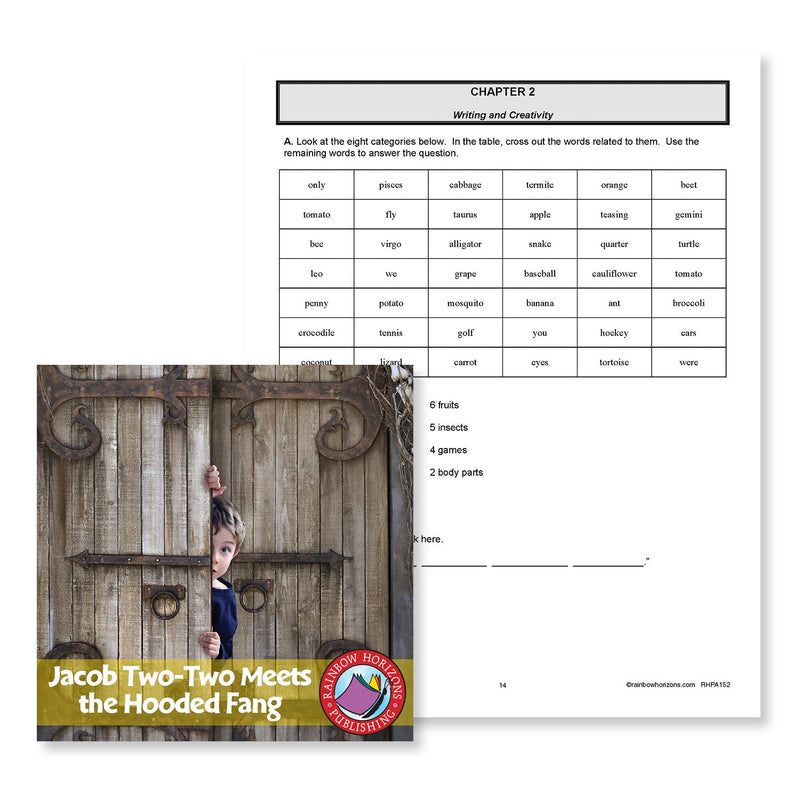 Jacob Two-Two Meets the Hooded Fang (Novel Study): Related Words Table - WORKSHEET