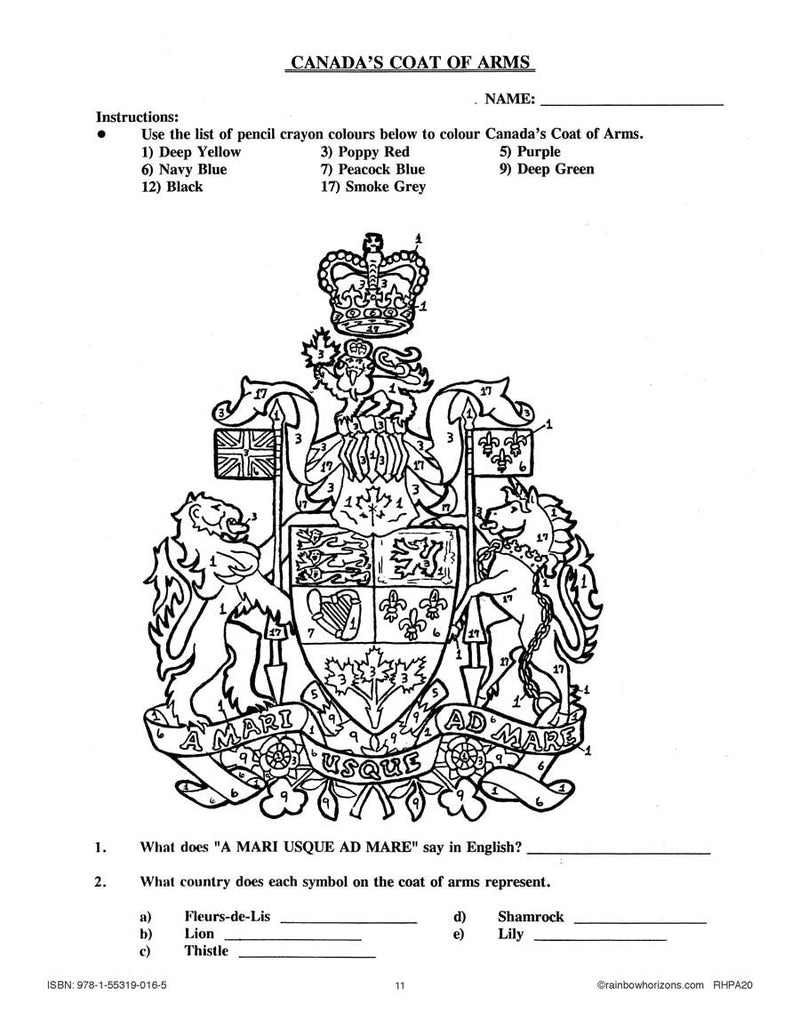 Canada Eh!: Coat of Arms Gr. 4-6 - WORKSHEET