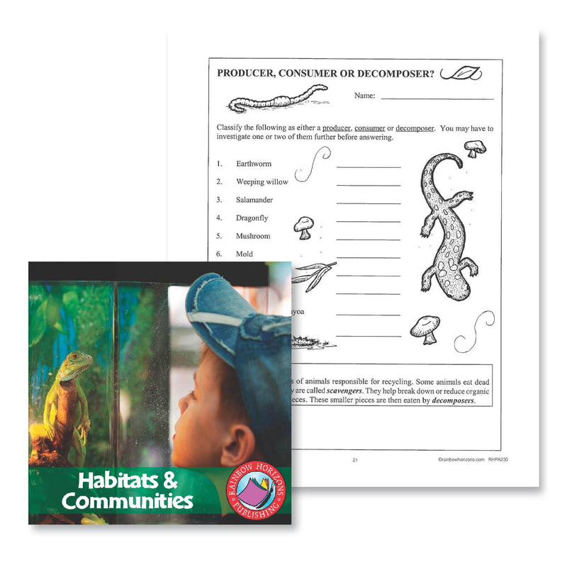 Habitats & Communities: Producer, Consumer or Decomposer - WORKSHEET