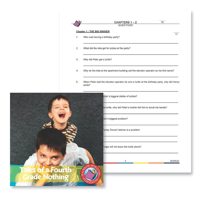 Tales of a Fourth Grade Nothing: Chapter 1 Questions - WORKSHEET
