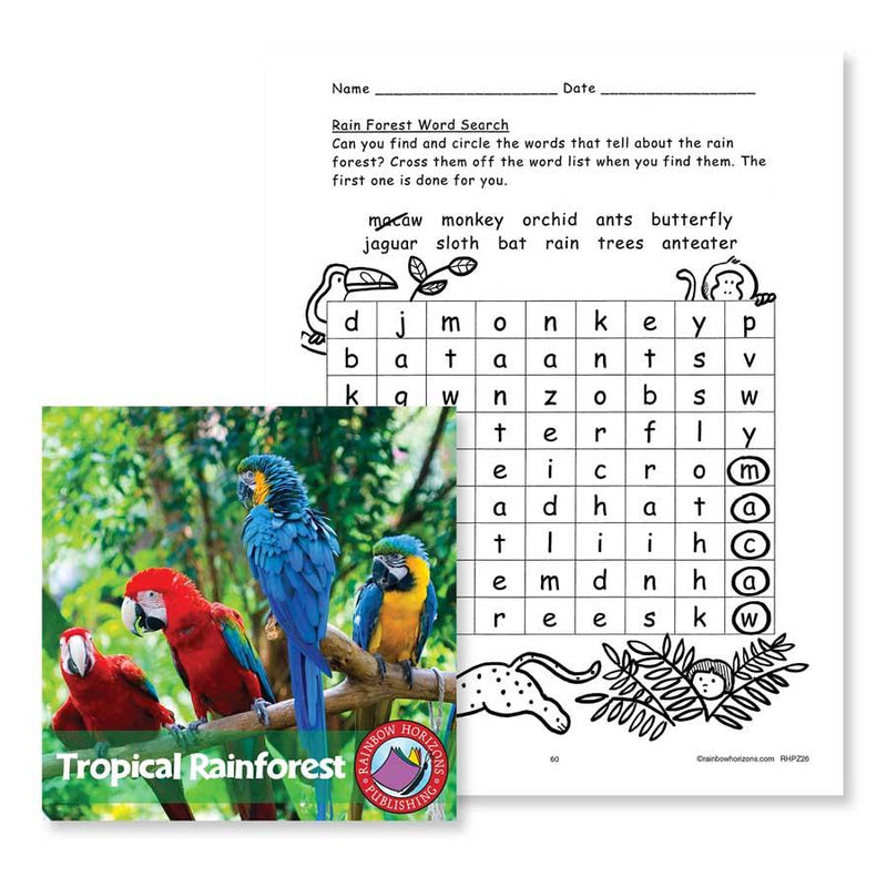Tropical Rainforest: Word Search - WORKSHEET