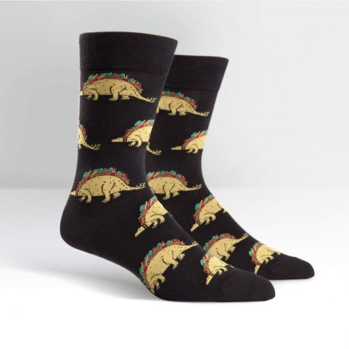 Black crew socks with yellow taco-shaped dinosaurs