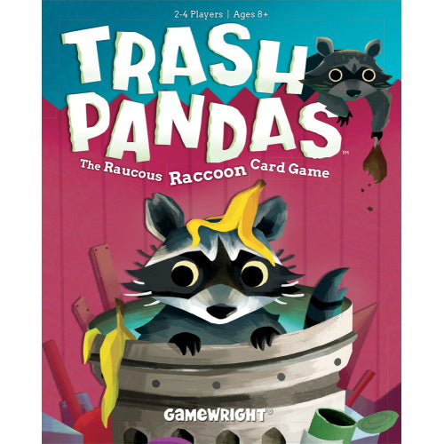 Game box, titled Trash Pandas, has a pink fence with a raccoon popping out of a trash can with a banana peel on his head