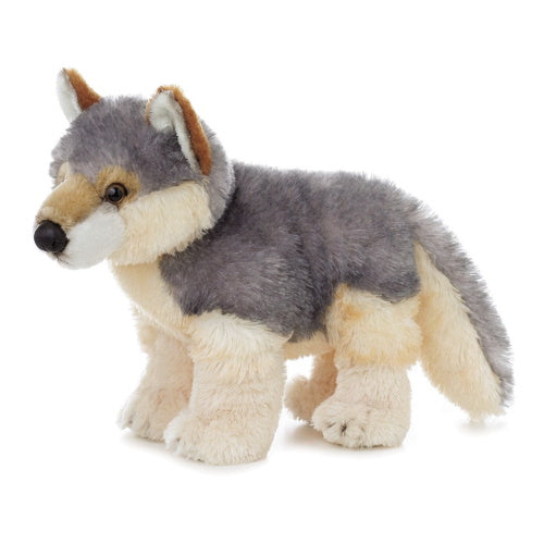 Plush wolf, standing up, gray back, tan legs and underbelly, very soft with vinyl nose and plastic eyes
