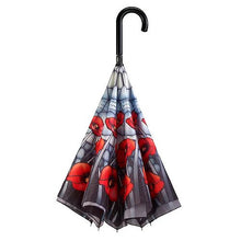 Load image into Gallery viewer, Poppies Upside Down Stick Umbrella