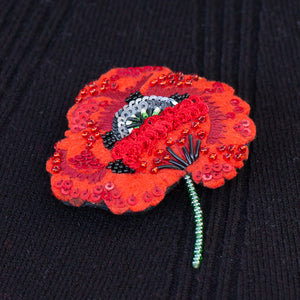 Poppy Brooch - handmade