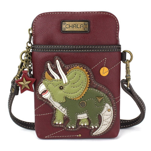 Triceratops Maroon Cell Crossbody Bag