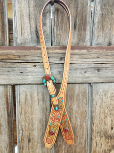 Red Rose & Turquoise Headstall