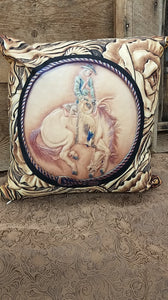 Ranch Bronc with Roses Pillow