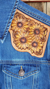 Yellow Sunflowers Denim Jacket