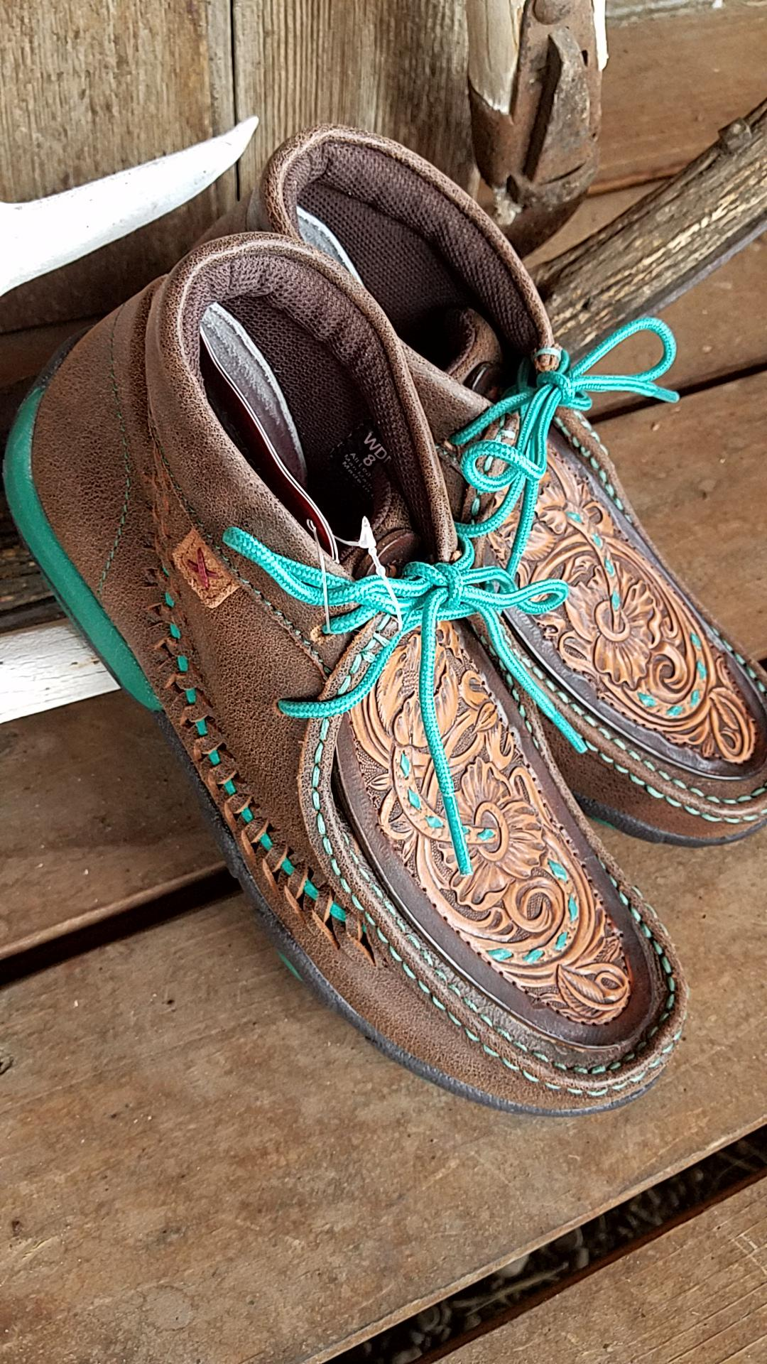 Brown & Turquoise High-top Twisted X Shoes