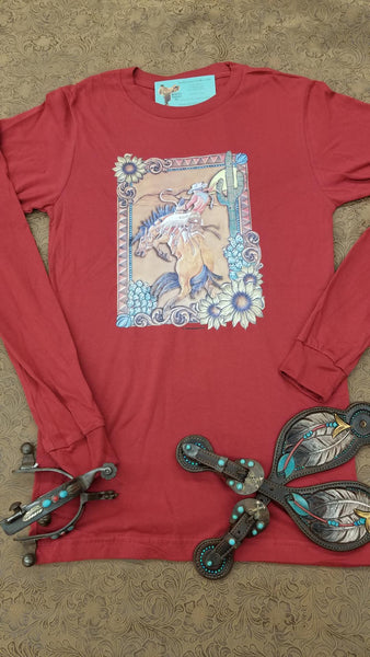 Josie and Buck at the Red Rock long sleeve tee