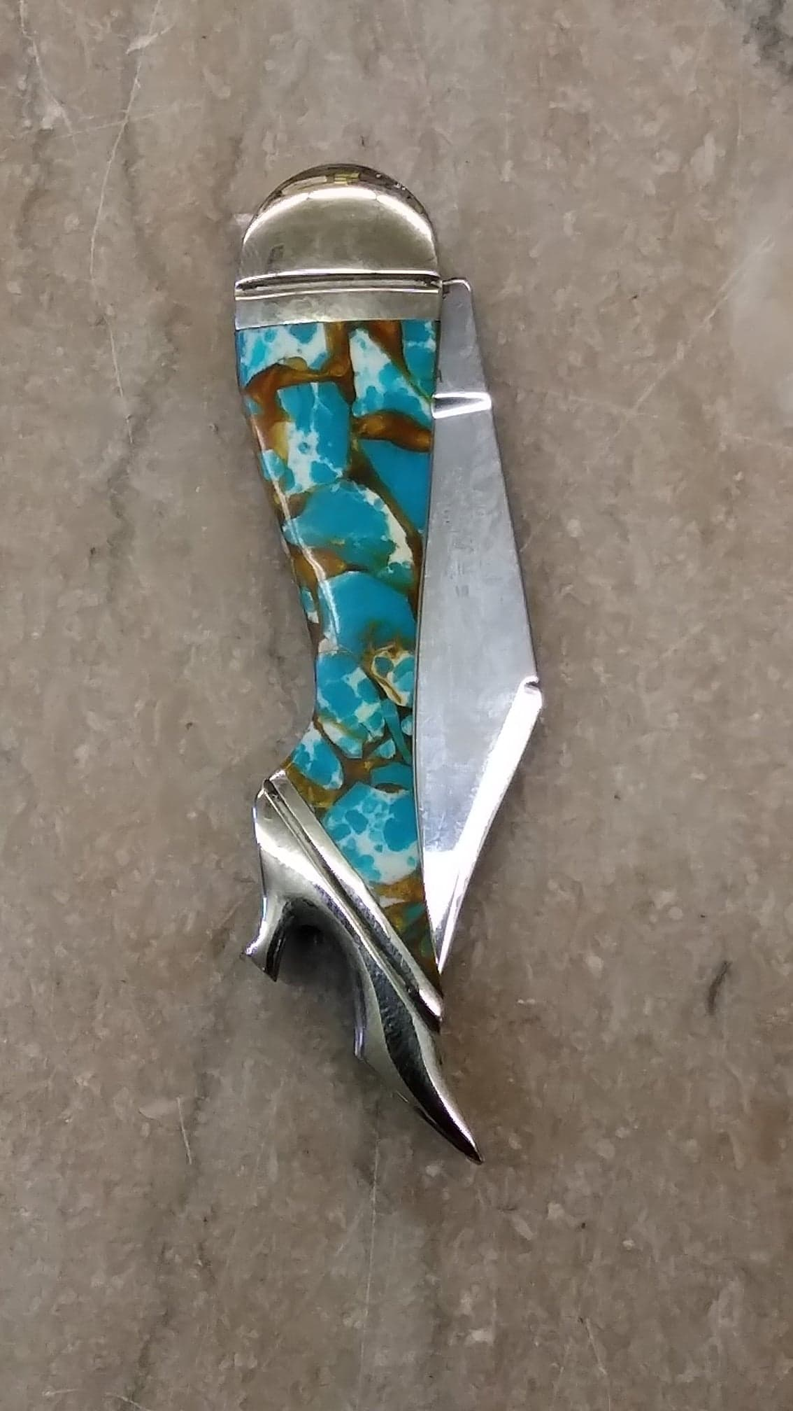 Take Me to Town: Turquoise & Amber Lady Leg Knife