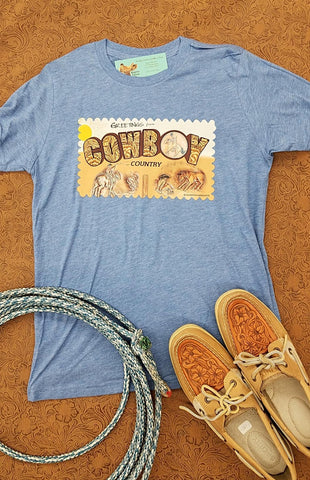 COWBOY COUNTRY in Washed Denim tee