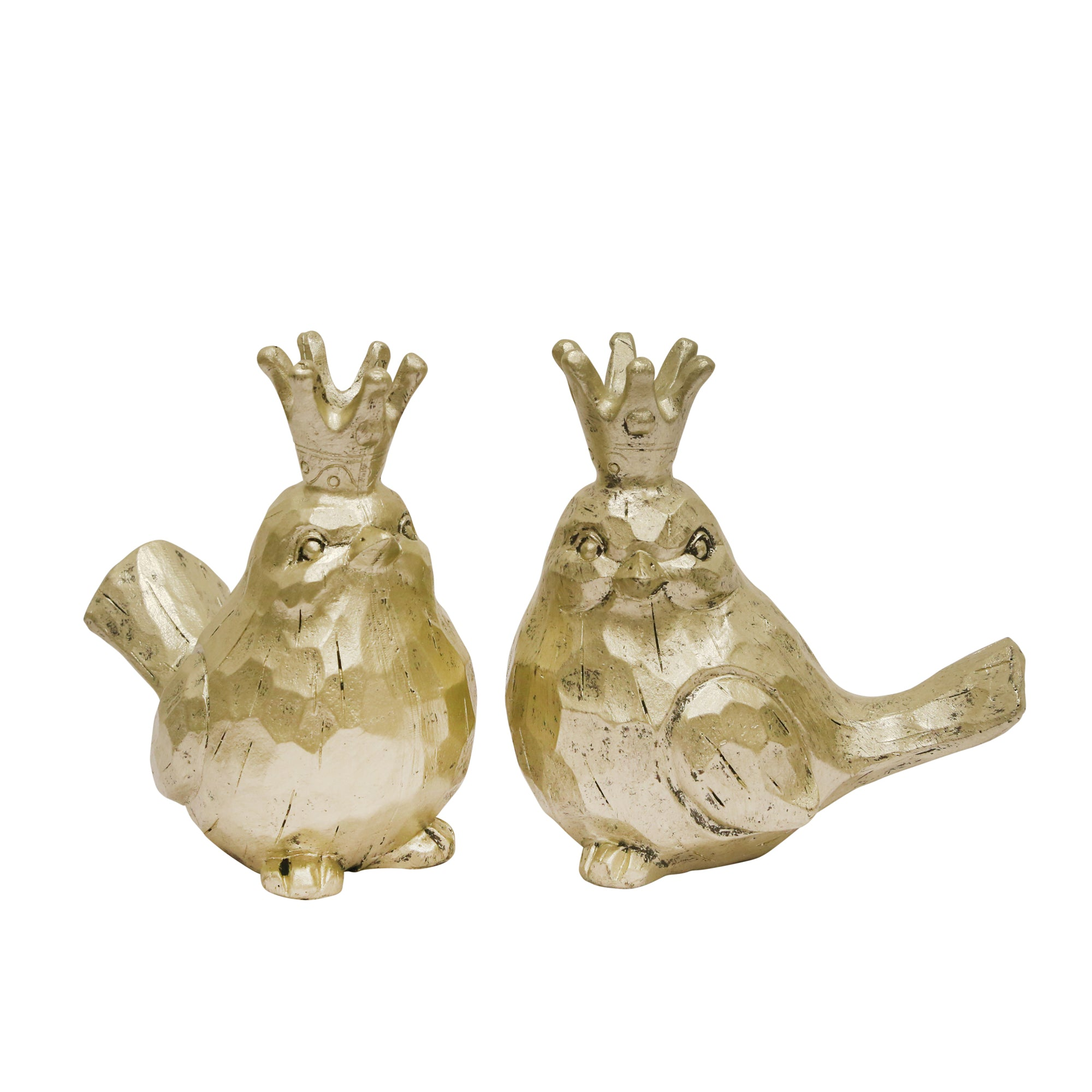 S/2 GOLD BIRDS W/ CROWNS