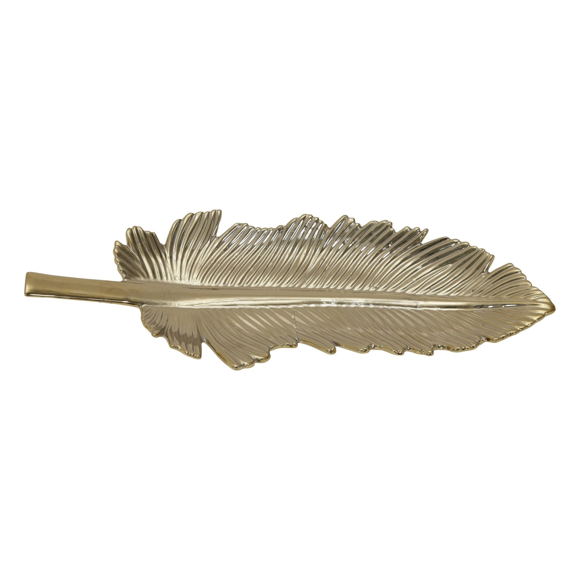 Gold Ceramic Leaf Plate - Shop Tray - DARRA HOME