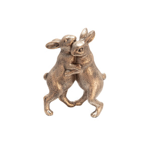 "POLYRESIN 7"" BUNNIES DANCING, COPPER"