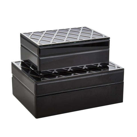 Set of 2 Black & Silver Boxes - DARRA HOME