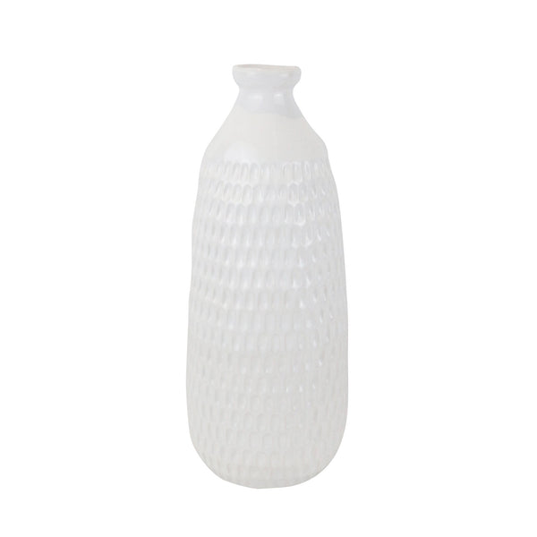 White Ceramic Dimpled Vase - DARRA HOME