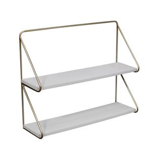 "METAL /WOOD 20"" 2 TEIER WALL SHELF, WHITE/GOLD"