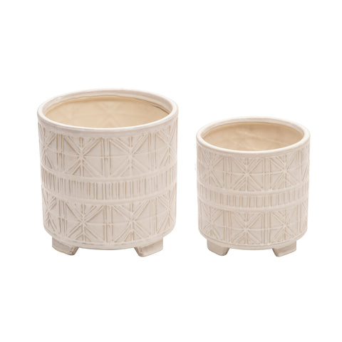 "S/2 CERAMIC 6/8"" ABSTRACT FOOTED PLANTER, BEIGE"